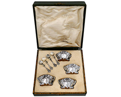 Box-of-Four-French-Sterling-Silver-18-Karat-Gold-Salt-Cellars