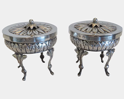 Pair-of-Early-19th-Century,-Hallmarked-Silver-Salt-Cellars