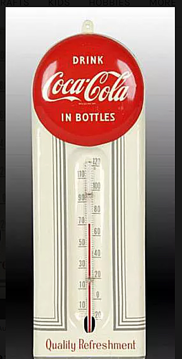 Coca-Cola Tin Thermometer for Collecting Coca-Cola with Price Guides